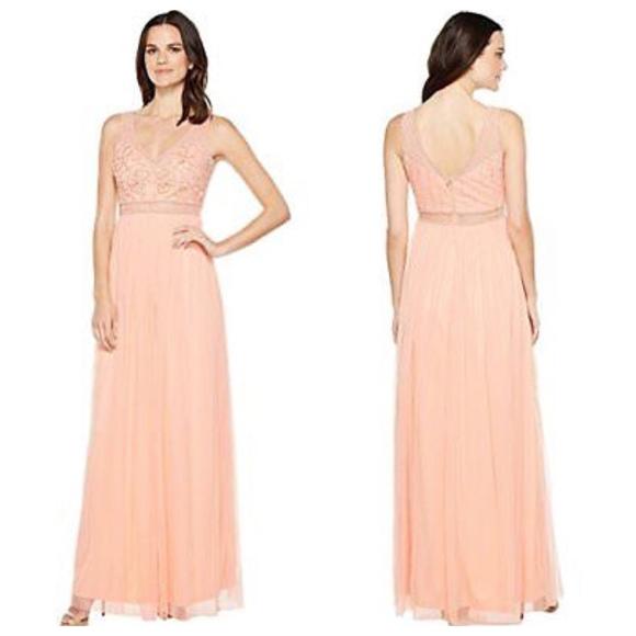 Adrianna Papell Sleeveless Bead Gown Coral | Poshmark